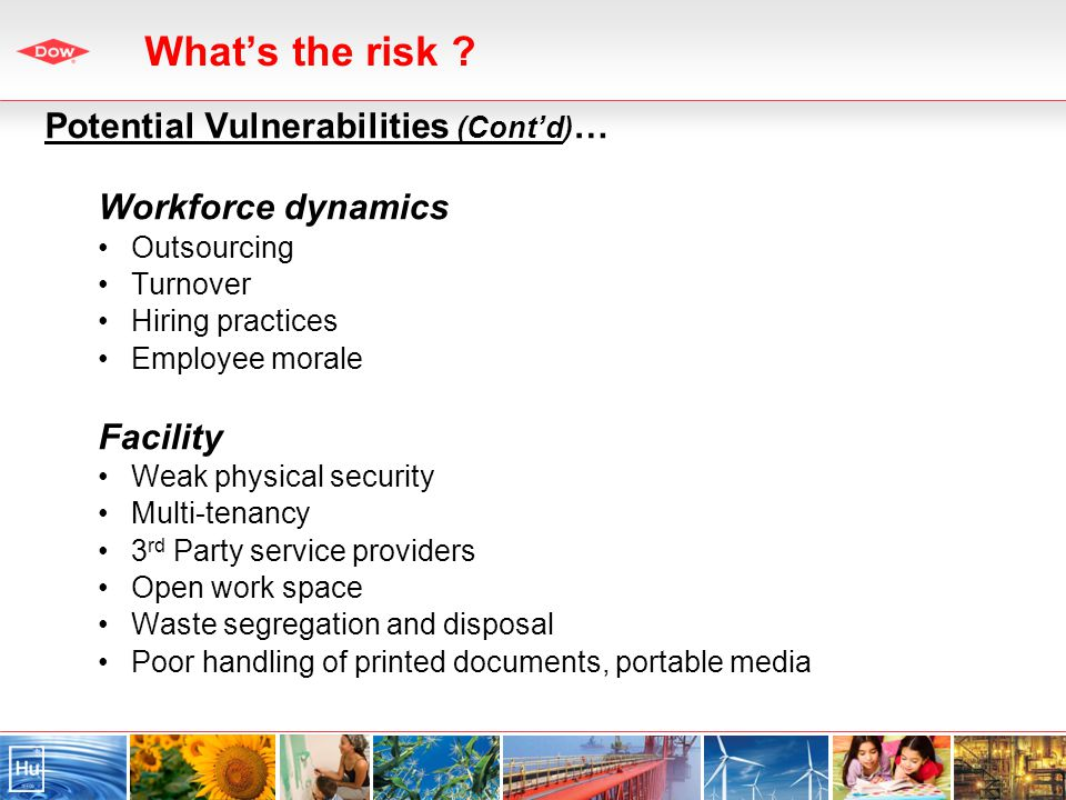 Potential Vulnerabilities (Contd) … Workforce dynamics Outsourcing Turnover Hiring practices Employee morale Facility Weak physical security Multi-tenancy 3 rd Party service providers Open work space Waste segregation and disposal Poor handling of printed documents, portable media Whats the risk ?