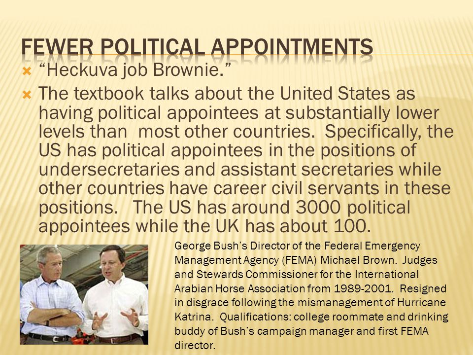 Heckuva job Brownie. The textbook talks about the United States as having political appointees at substantially lower levels than most other countries