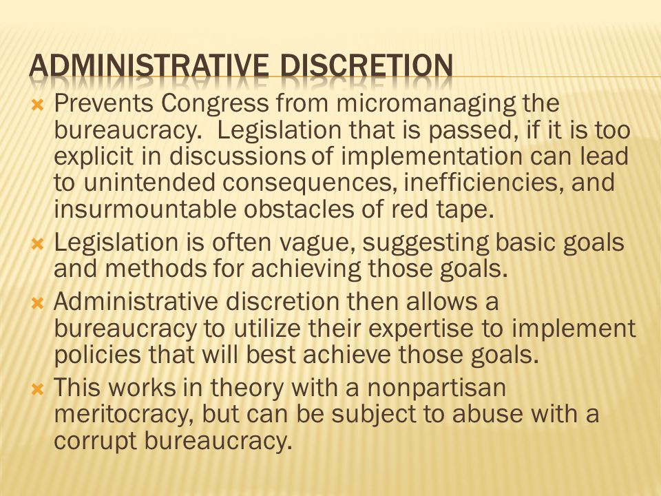 Prevents Congress from micromanaging the bureaucracy.