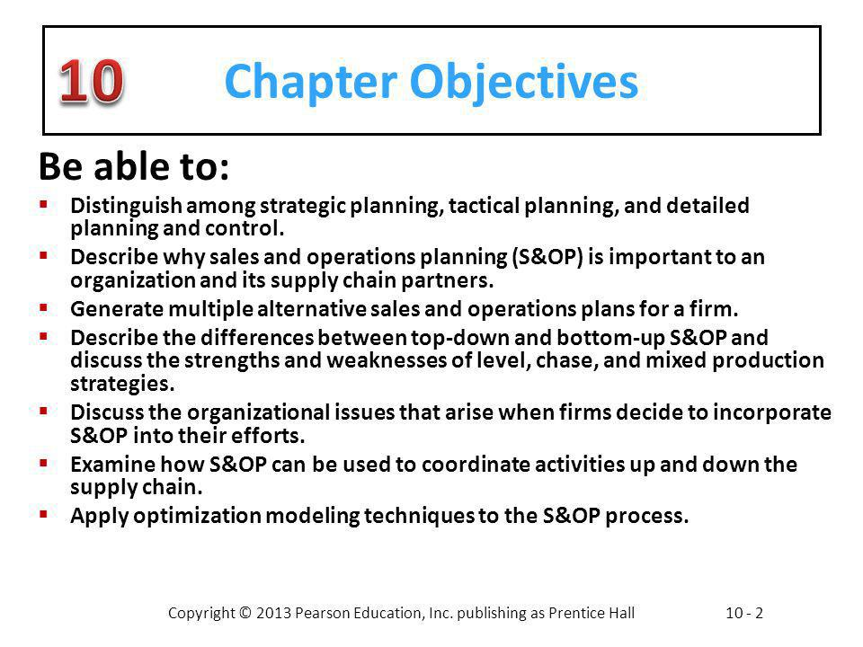 Copyright © 2013 Pearson Education, Inc. publishing as Prentice Hall10 - 2 Chapter Objectives Be able to: Distinguish among strategic planning, tactic