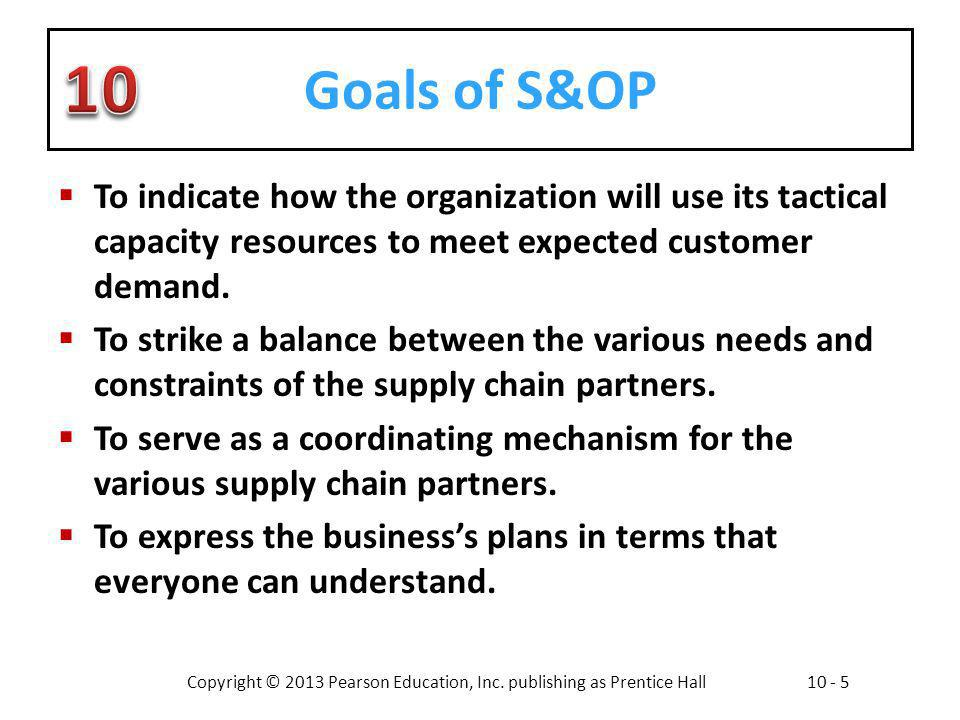 Copyright © 2013 Pearson Education, Inc. publishing as Prentice Hall10 - 5 Goals of S&OP To indicate how the organization will use its tactical capaci