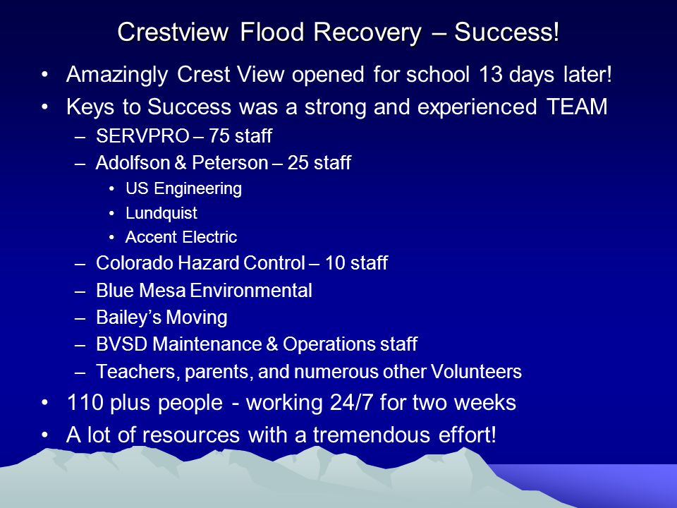 Crestview Flood Recovery – Success.Amazingly Crest View opened for school 13 days later.