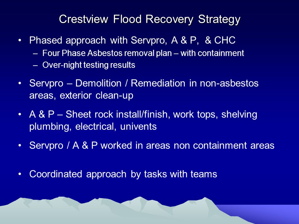 Crestview Flood Recovery Strategy Phased approach with Servpro, A & P, & CHC –Four Phase Asbestos removal plan – with containment –Over-night testing results Servpro – Demolition / Remediation in non-asbestos areas, exterior clean-up A & P – Sheet rock install/finish, work tops, shelving plumbing, electrical, univents Servpro / A & P worked in areas non containment areas Coordinated approach by tasks with teams
