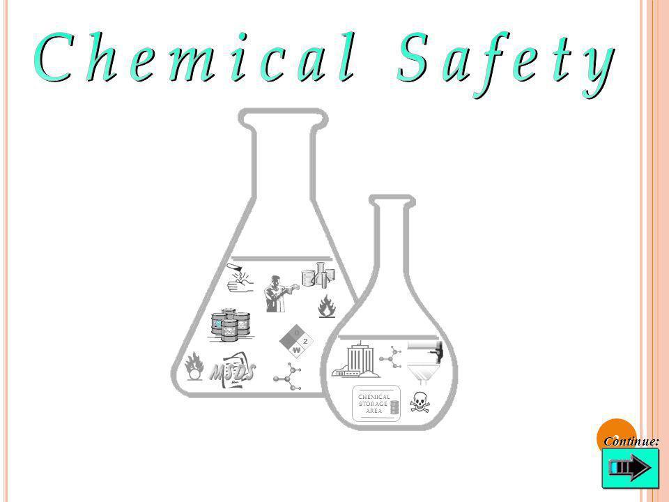 C HEMICAL S TORAGE Avoid storing liquid chemicals above eye level.