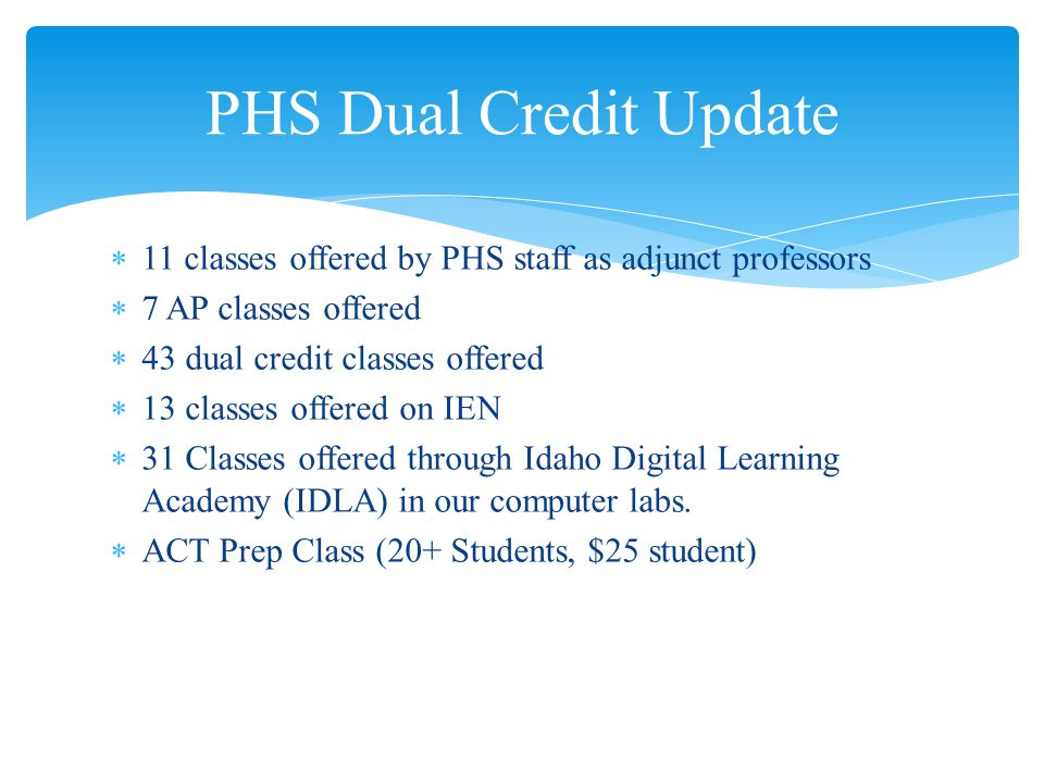 11 classes offered by PHS staff as adjunct professors 7 AP classes offered 43 dual credit classes offered 13 classes offered on IEN 31 Classes offered