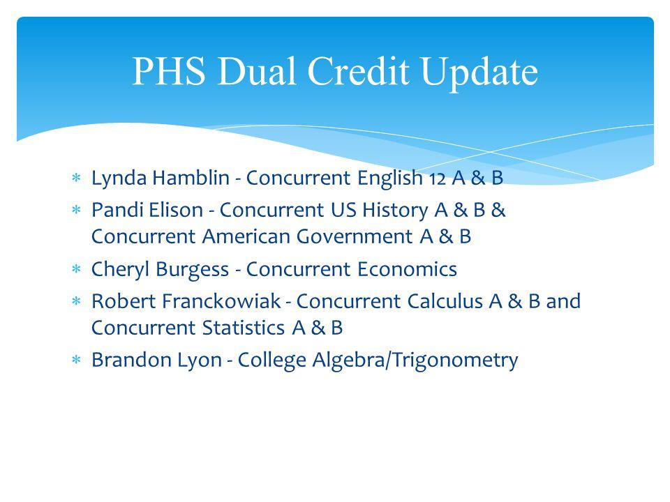 Lynda Hamblin - Concurrent English 12 A & B Pandi Elison - Concurrent US History A & B & Concurrent American Government A & B Cheryl Burgess - Concurr