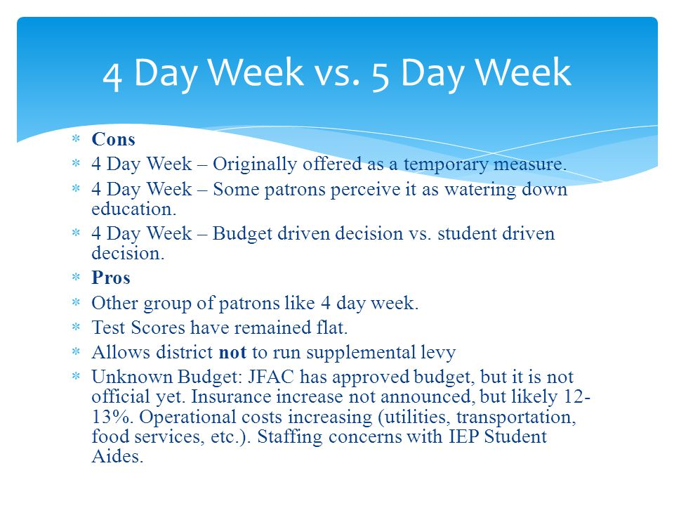 Cons 4 Day Week – Originally offered as a temporary measure. 4 Day Week – Some patrons perceive it as watering down education. 4 Day Week – Budget dri