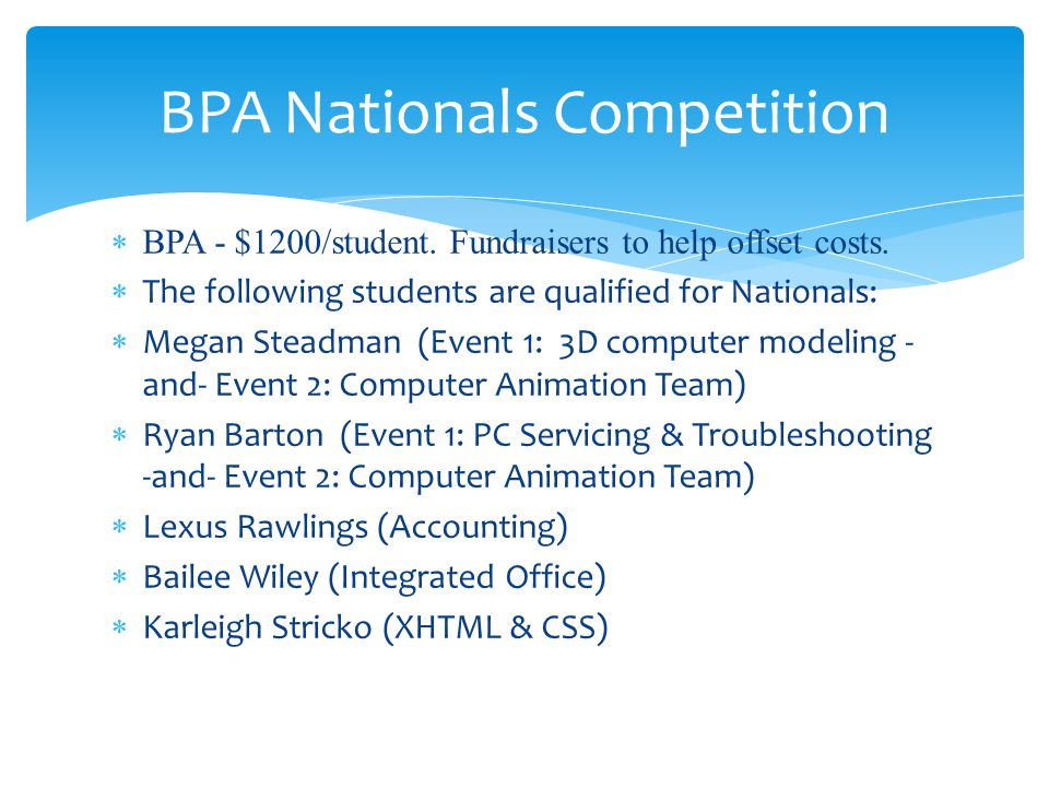 BPA - $1200/student. Fundraisers to help offset costs. The following students are qualified for Nationals: Megan Steadman (Event 1: 3D computer modeli