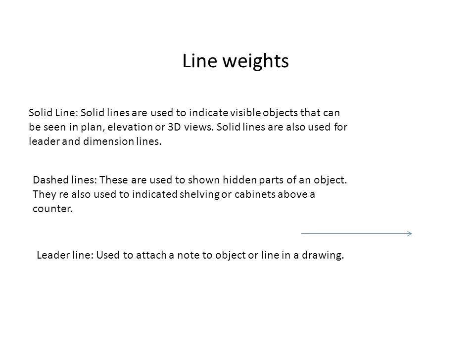Line weights Solid Line: Solid lines are used to indicate visible objects that can be seen in plan, elevation or 3D views.