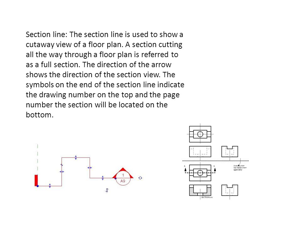 Section line: The section line is used to show a cutaway view of a floor plan. A section cutting all the way through a floor plan is referred to as a