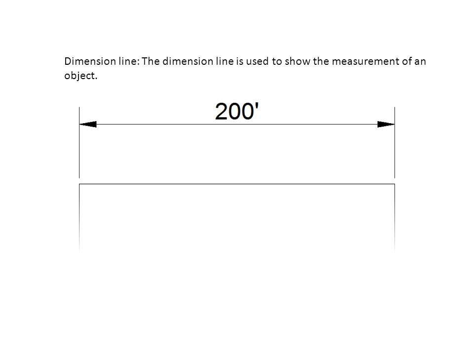 Dimension line: The dimension line is used to show the measurement of an object.