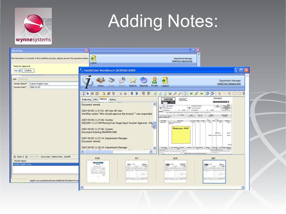 Adding Notes: