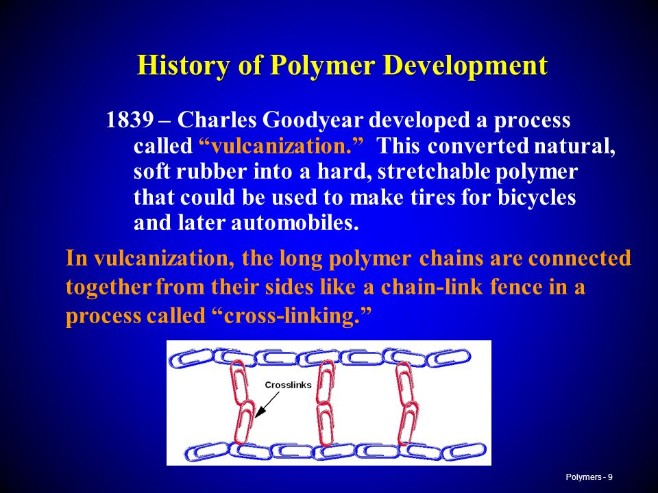 Polymers - 9 History of Polymer Development 1839 – Charles Goodyear developed a process called vulcanization. This converted natural, soft rubber into