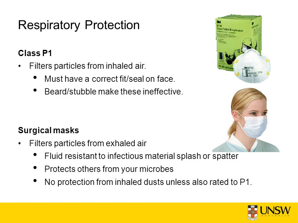 Respiratory Protection Class P1 Filters particles from inhaled air.