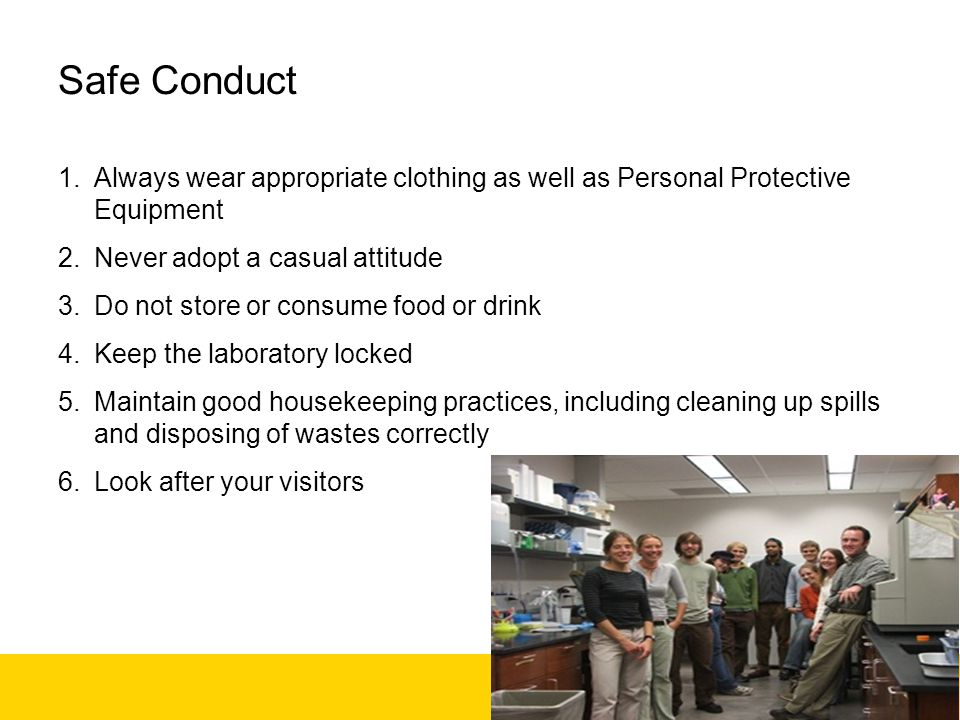 Recirculating fume cabinets Ensure substances used are compatible with filters used Do not use for storage Do not use after major spills – replace filters –Treat spills in RFCs as if they were on the bench.