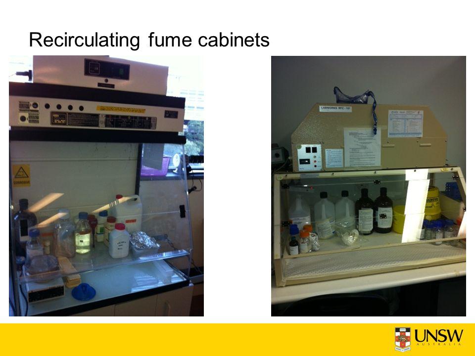 Recirculating fume cabinets