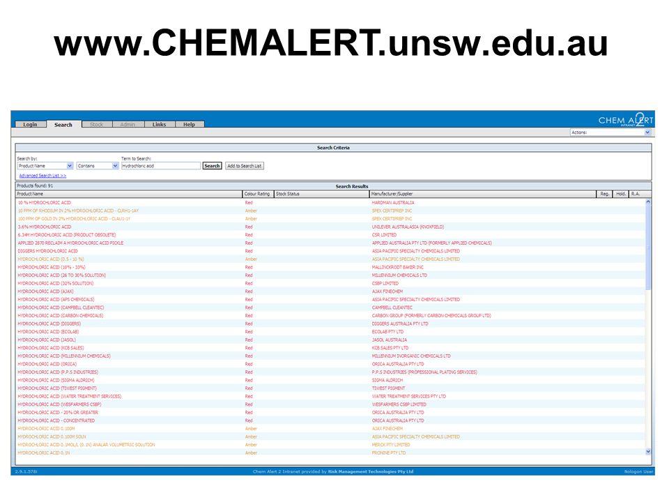 82 www.CHEMALERT.unsw.edu.au