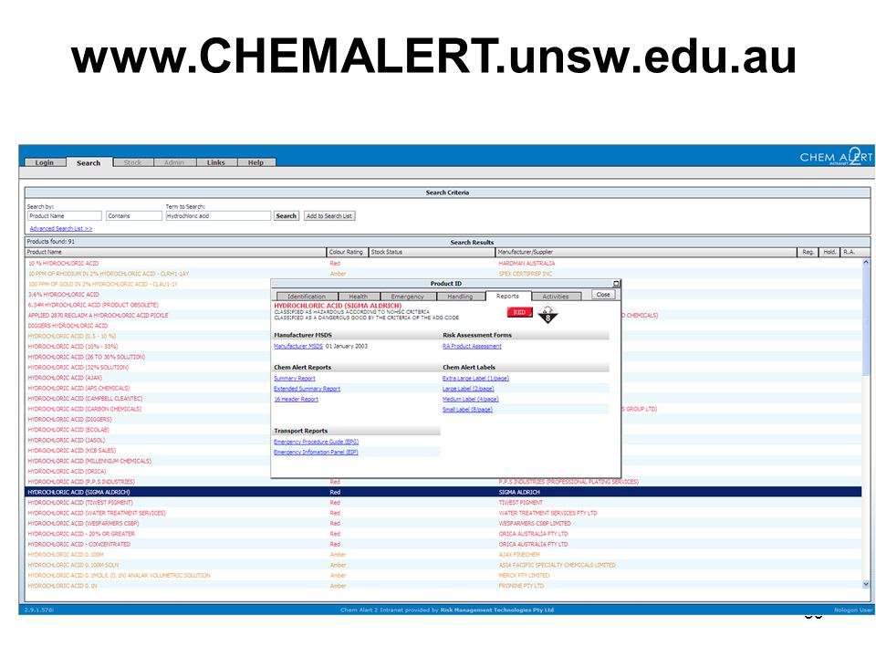 83 www.CHEMALERT.unsw.edu.au