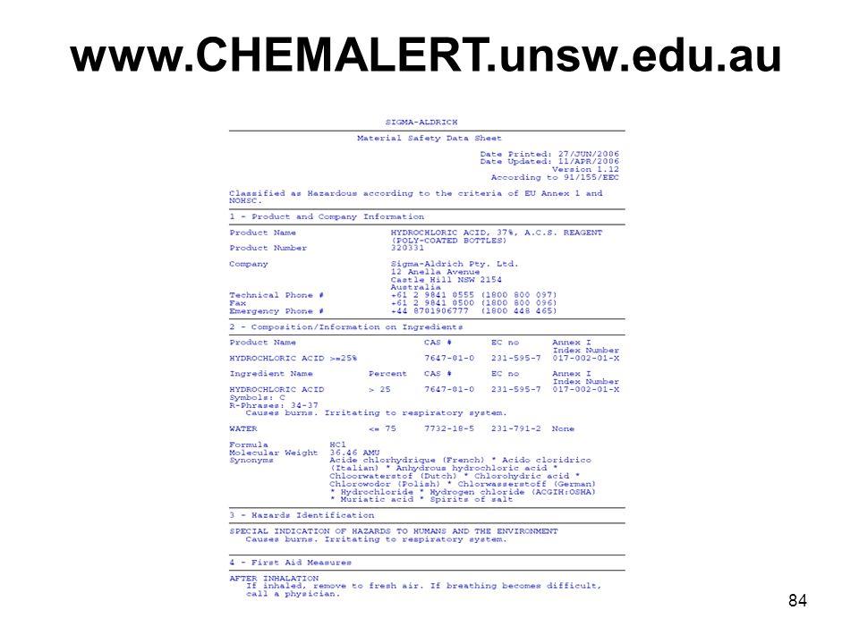84 www.CHEMALERT.unsw.edu.au
