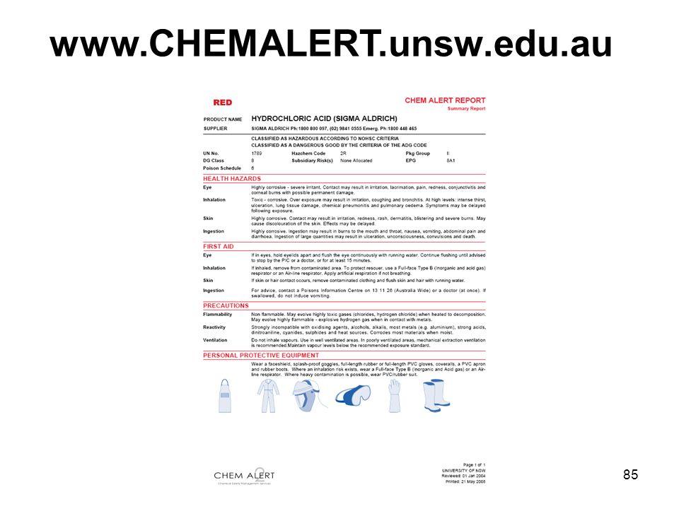 85 www.CHEMALERT.unsw.edu.au