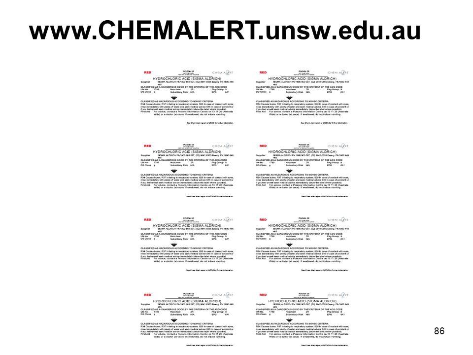 86 www.CHEMALERT.unsw.edu.au