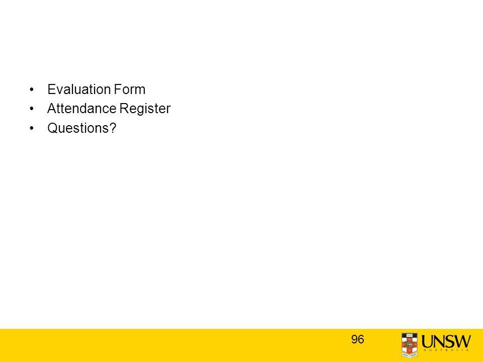Evaluation Form Attendance Register Questions 96