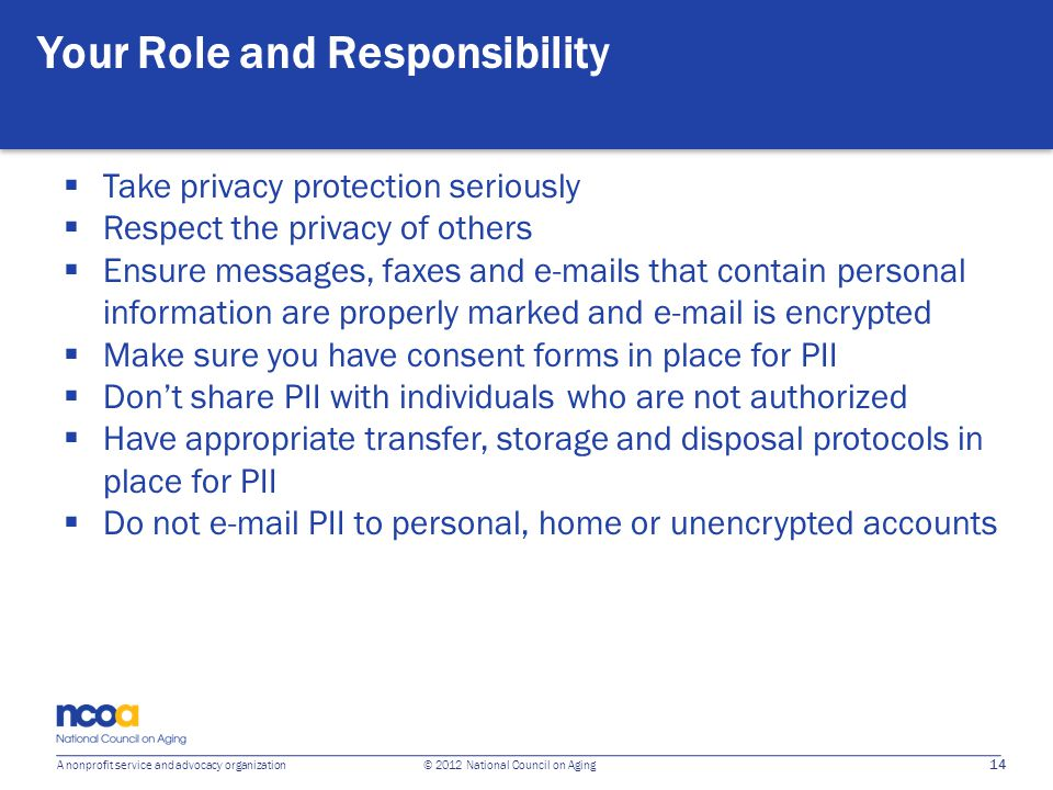 14 A nonprofit service and advocacy organization © 2012 National Council on Aging Your Role and Responsibility Take privacy protection seriously Respe