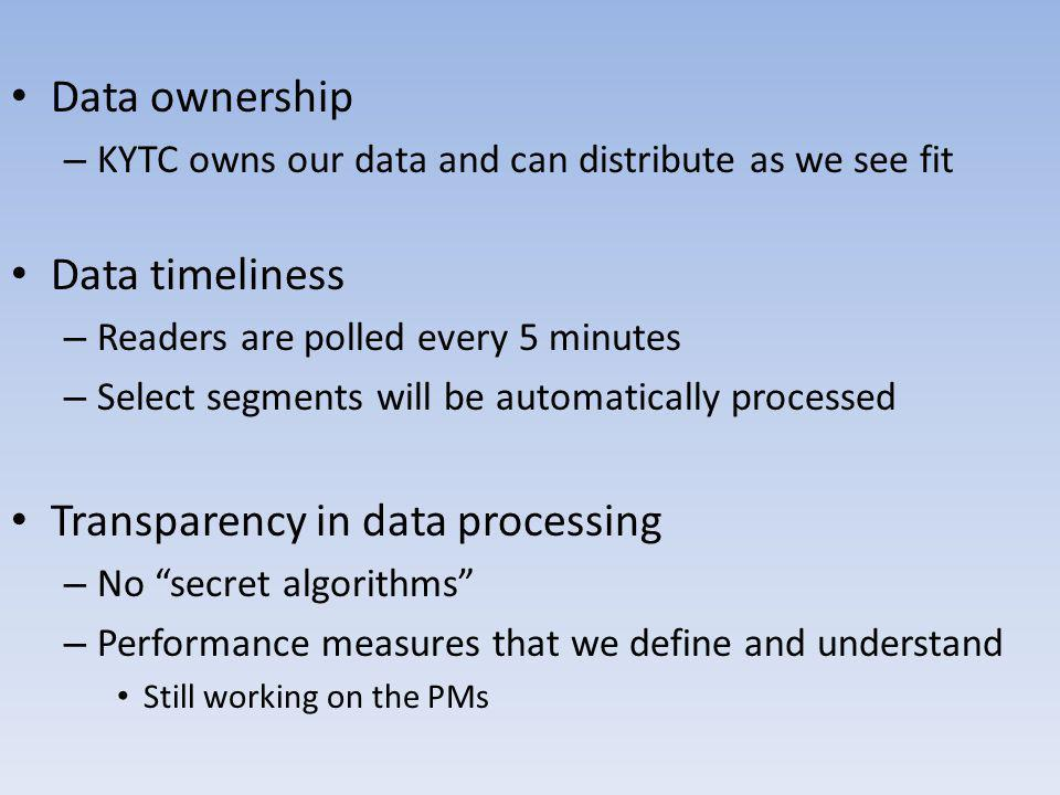 Data ownership – KYTC owns our data and can distribute as we see fit Data timeliness – Readers are polled every 5 minutes – Select segments will be au