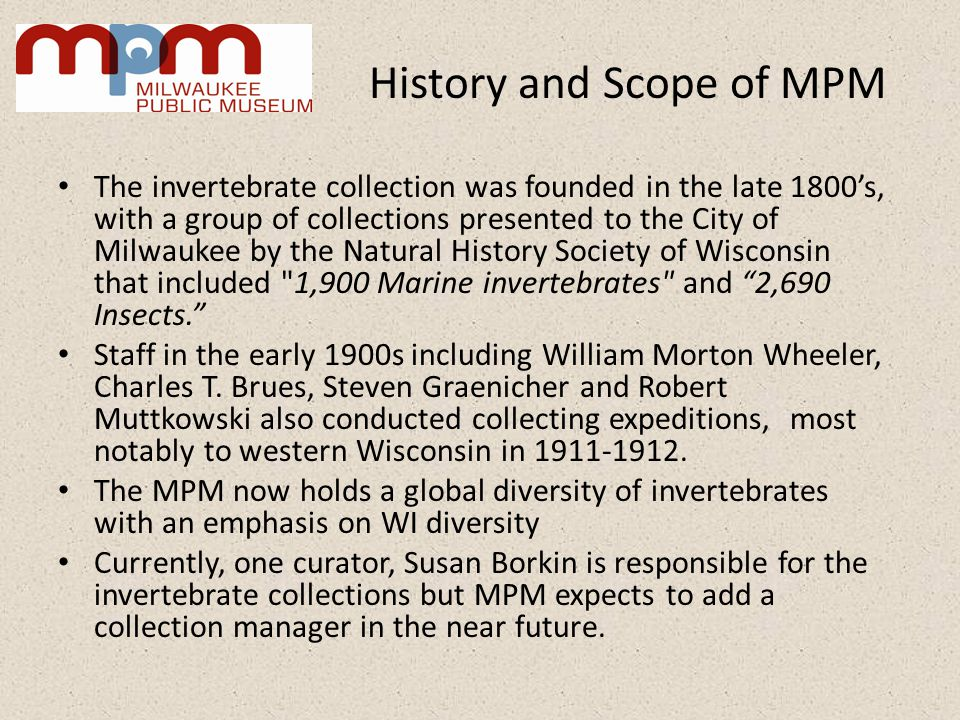 History and Scope of MPM The invertebrate collection was founded in the late 1800s, with a group of collections presented to the City of Milwaukee by the Natural History Society of Wisconsin that included 1,900 Marine invertebrates and 2,690 Insects.