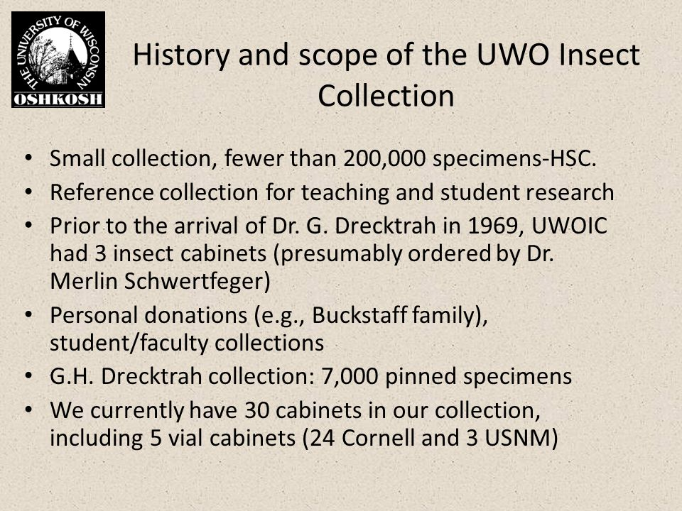 History and scope of the UWO Insect Collection Small collection, fewer than 200,000 specimens-HSC.