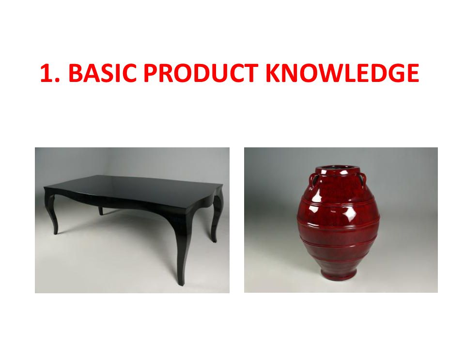 1. BASIC PRODUCT KNOWLEDGE