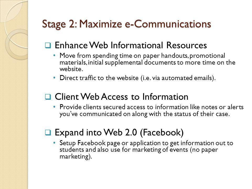 Stage 2: Maximize e-Communications Enhance Web Informational Resources Move from spending time on paper handouts, promotional materials, initial supplemental documents to more time on the website.