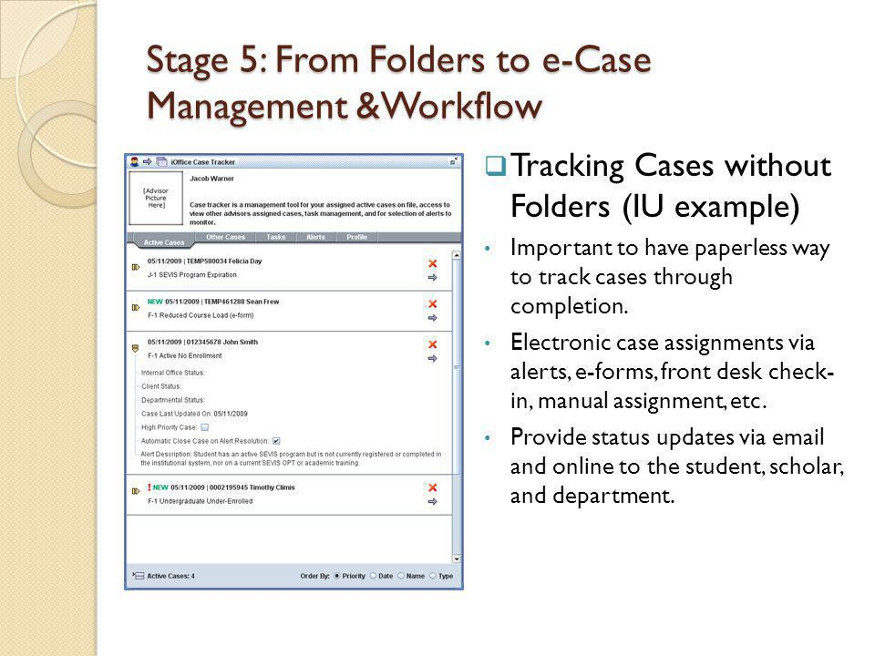 Stage 5: From Folders to e-Case Management &Workflow Tracking Cases without Folders (IU example) Important to have paperless way to track cases through completion.