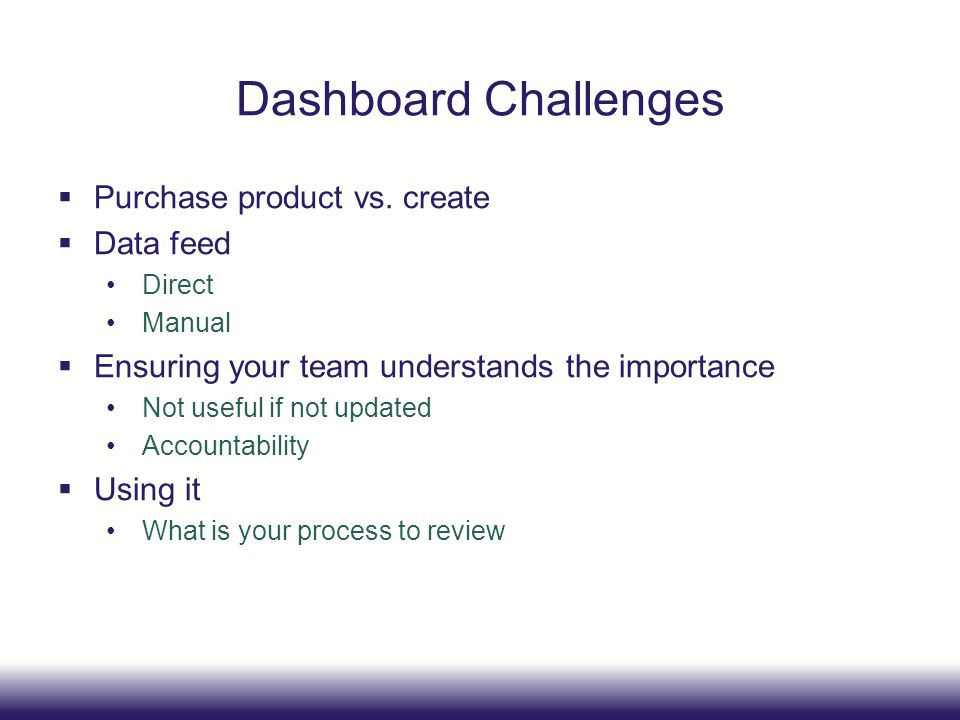 Dashboard Challenges Purchase product vs. create Data feed Direct Manual Ensuring your team understands the importance Not useful if not updated Accou