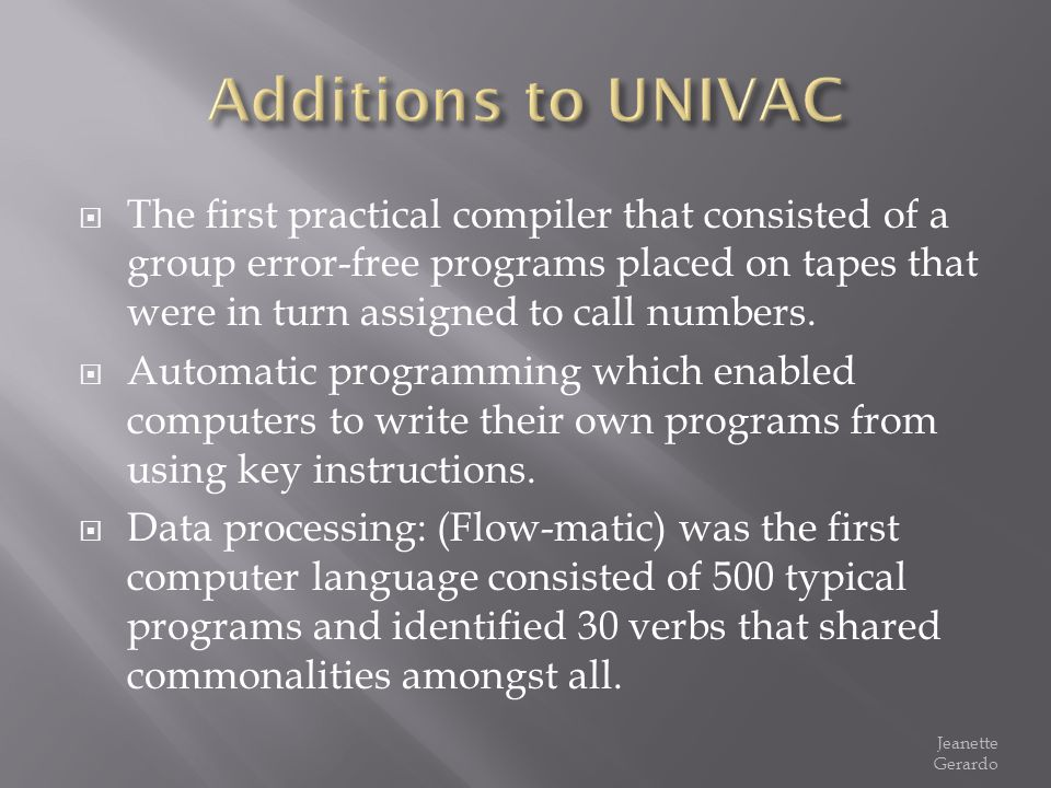 The first practical compiler that consisted of a group error-free programs placed on tapes that were in turn assigned to call numbers. Automatic progr