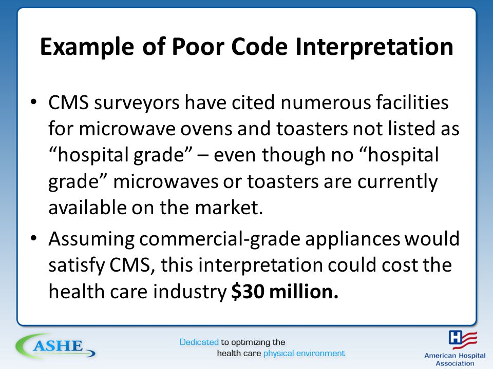 Example of Poor Code Interpretation CMS surveyors have cited numerous facilities for microwave ovens and toasters not listed as hospital grade – even though no hospital grade microwaves or toasters are currently available on the market.