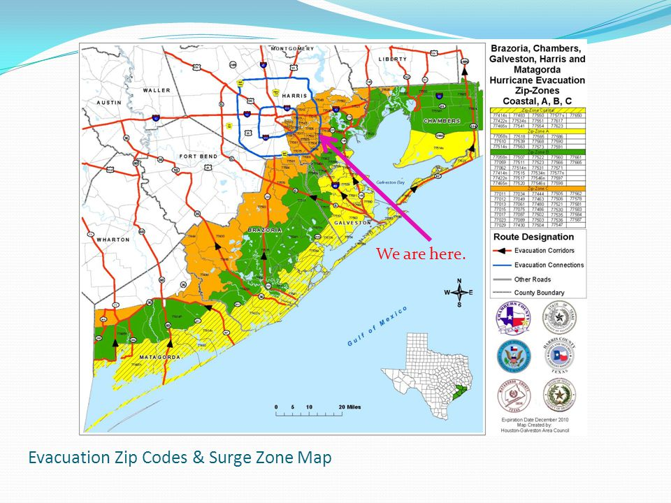Evacuation Zip Codes & Surge Zone Map We are here.