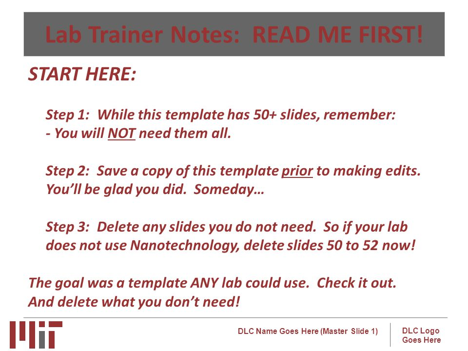 DLC Name Goes Here (Master Slide 1) DLC Logo Goes Here Lab Trainer Notes: READ ME FIRST.