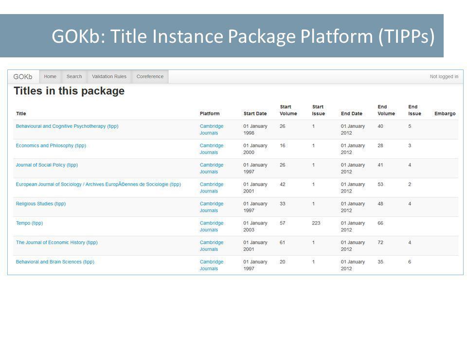 GOKb: Title Instance Package Platform (TIPPs)