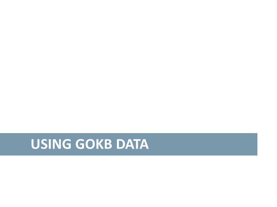 USING GOKB DATA
