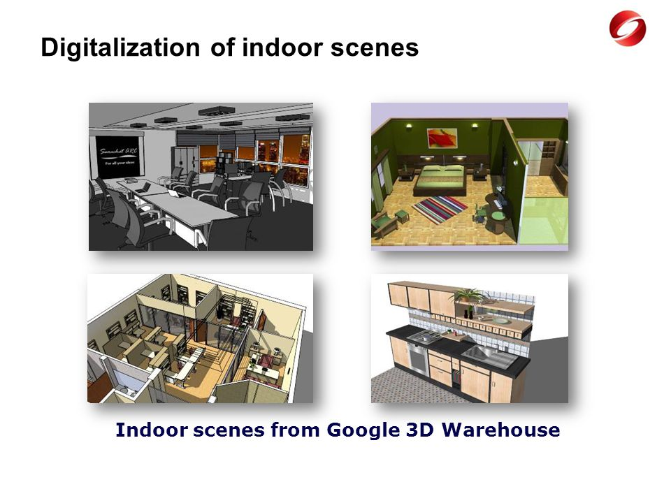 Digitalization of indoor scenes Indoor scenes from Google 3D Warehouse