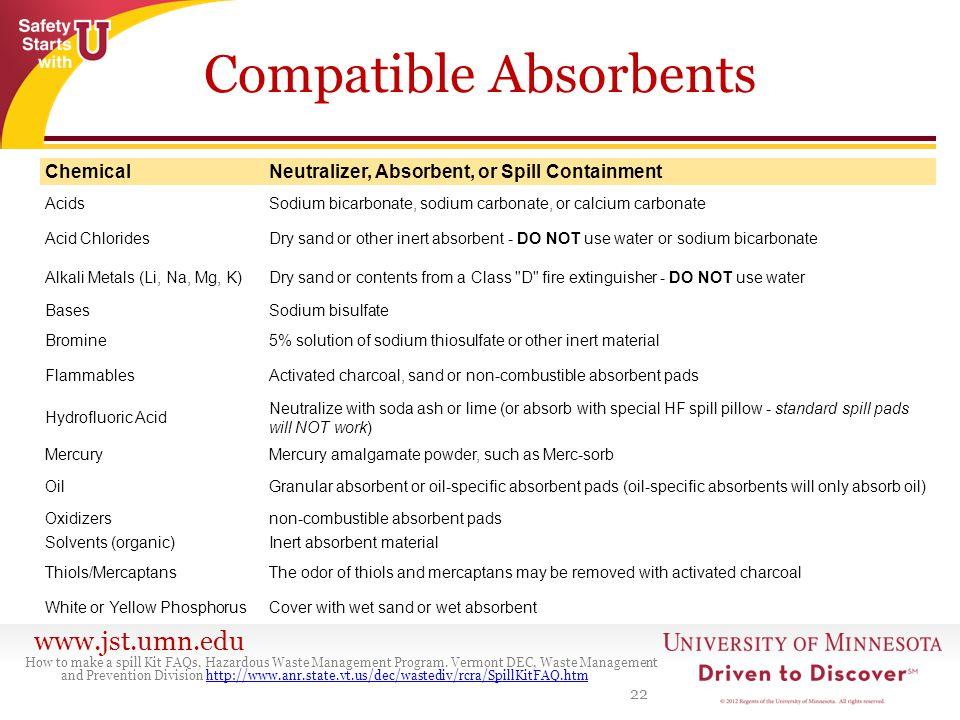 www.jst.umn.edu Compatible Absorbents 22 How to make a spill Kit FAQs, Hazardous Waste Management Program. Vermont DEC, Waste Management and Preventio