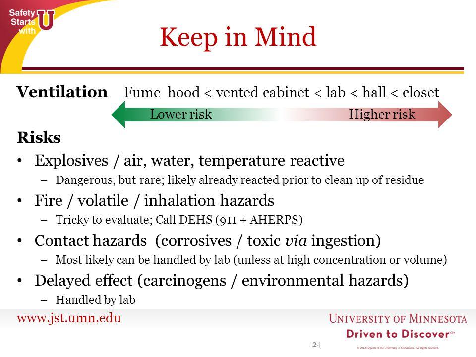 www.jst.umn.edu Keep in Mind Ventilation Fume hood < vented cabinet < lab < hall < closet Risks Explosives / air, water, temperature reactive – Danger