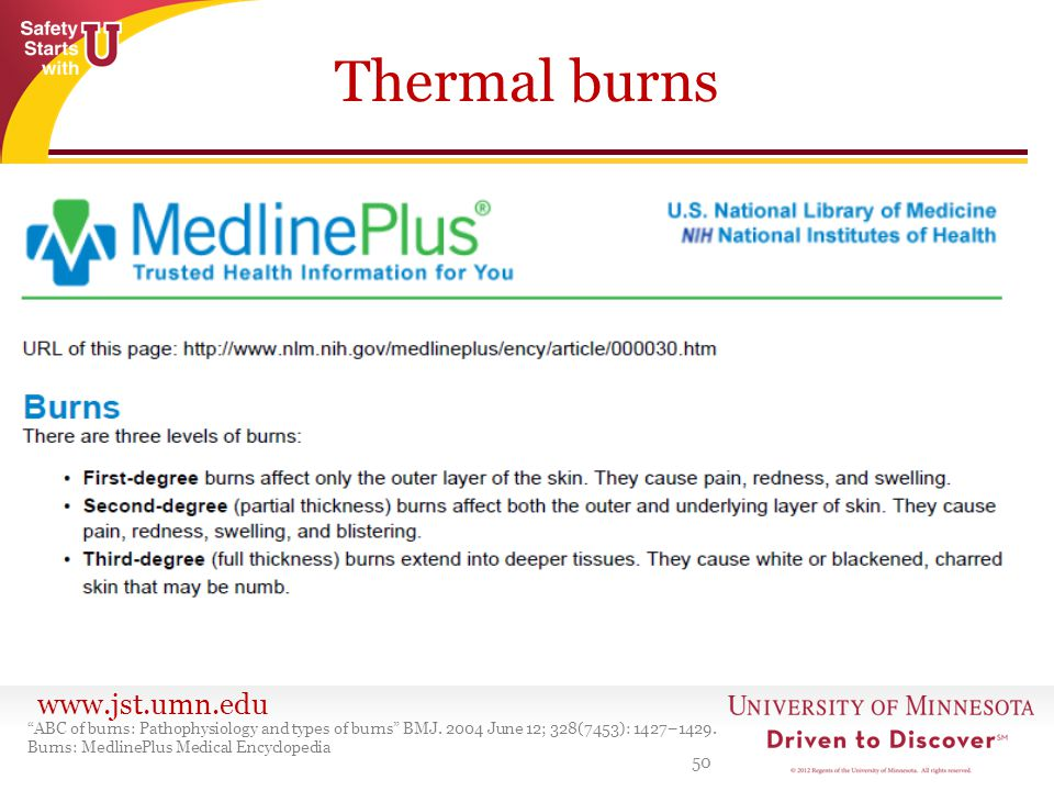 www.jst.umn.edu Thermal burns 50 ABC of burns: Pathophysiology and types of burns BMJ. 2004 June 12; 328(7453): 1427–1429. Burns: MedlinePlus Medical