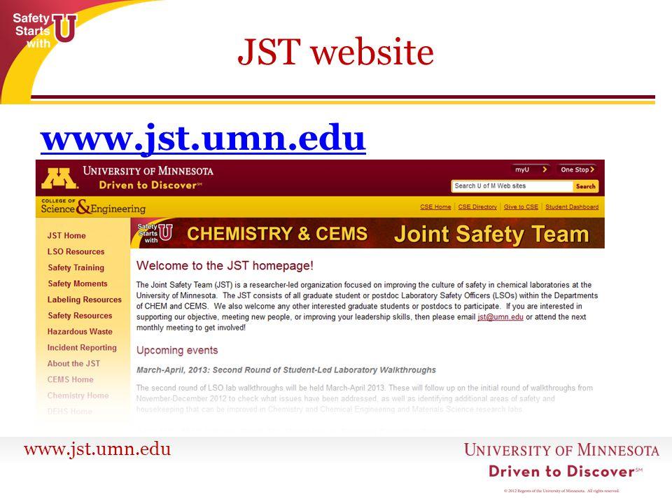 www.jst.umn.edu JST website www.jst.umn.edu