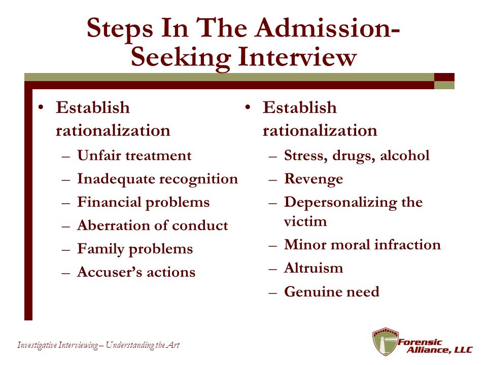 67 Investigative Interviewing – Understanding the Art Steps In The Admission- Seeking Interview Establish rationalization –Unfair treatment –Inadequate recognition –Financial problems –Aberration of conduct –Family problems –Accusers actions Establish rationalization –Stress, drugs, alcohol –Revenge –Depersonalizing the victim –Minor moral infraction –Altruism –Genuine need
