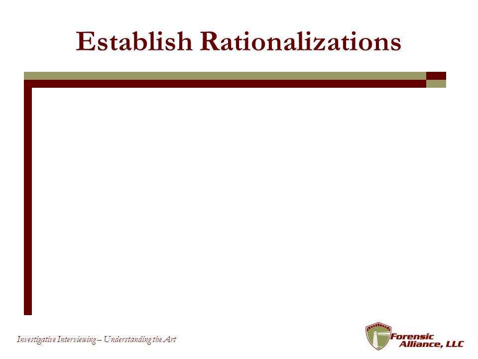 68 Investigative Interviewing – Understanding the Art Establish Rationalizations