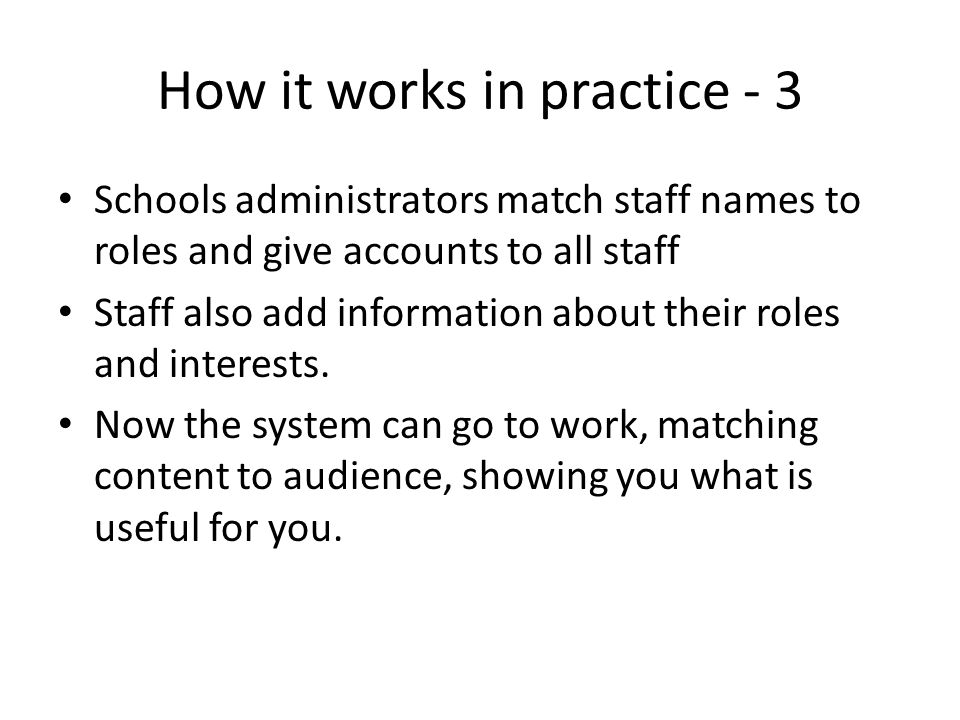 How it works in practice - 3 Schools administrators match staff names to roles and give accounts to all staff Staff also add information about their roles and interests.