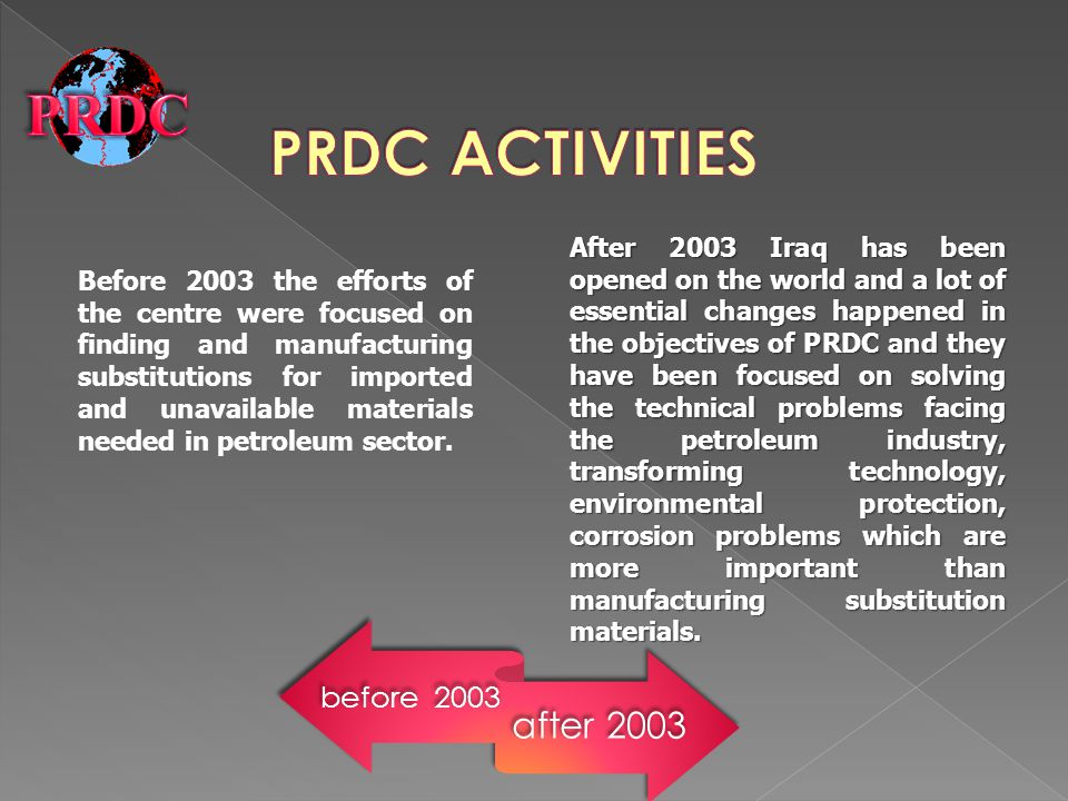 Before 2003 the efforts of the centre were focused on finding and manufacturing substitutions for imported and unavailable materials needed in petrole