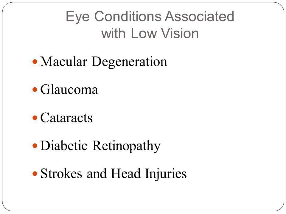 Macular Degeneration Glaucoma Cataracts Diabetic Retinopathy Strokes and Head Injuries Eye Conditions Associated with Low Vision